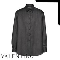 VALENTINO Stripes Wool Long Sleeves Plain Oversized Front Button