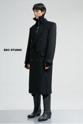 Unisex Wool Street Style Plain Long Oversized Coats
