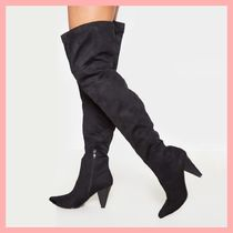 Lipsy Casual Style Plain Chunky Heels Over-the-Knee Boots