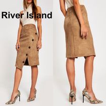 River Island Pencil Skirts Short Casual Style Suede Skirts