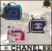 CHANEL Casual Style Calfskin Vanity Bags 2WAY Chain Plain Leather
