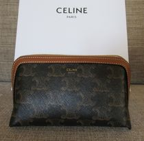 CELINE Triomphe Canvas Canvas Lambskin Pouches & Cosmetic Bags