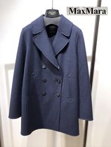 Weekend Max Mara Short Casual Style Wool Nylon Blended Fabrics Plain Peacoats