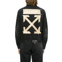 Off-White Short Denim Street Style Plain Denim Jackets Jackets