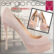 Sergio Rossi Open Toe Platform Rubber Sole Suede Plain Leather Pin Heels