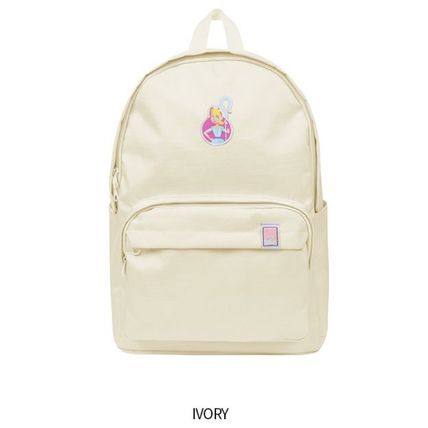 Unisex Collaboration Plain Logo Backpacks