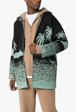 Cable Knit Tropical Patterns Wool Street Style Long Sleeves
