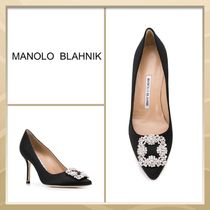 Manolo Blahnik Casual Style Plain Leather Pin Heels Party Style With Jewels