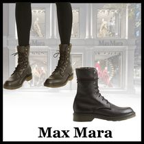 MaxMara Plain Toe Rubber Sole Lace-up Casual Style Leather