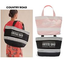 COUNTRY ROAD Stripes Casual Style Canvas Totes