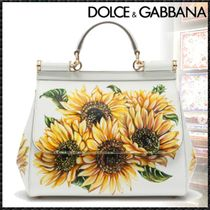 Dolce & Gabbana SICILY Flower Patterns Calfskin 2WAY Handmade Elegant Style