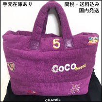 CHANEL Unisex Collaboration A4 Logo Totes