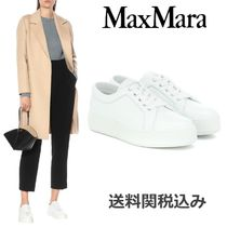 MaxMara Platform Round Toe Lace-up Casual Style Blended Fabrics
