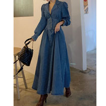 Casual Style A-line Denim Flared V-Neck Long Sleeves Plain