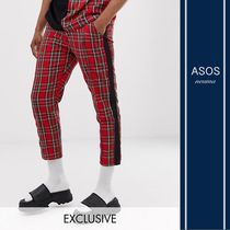 ASOS Stripes Tartan Blended Fabrics Street Style Cropped Pants