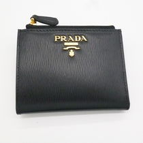 PRADA Unisex Calfskin Plain Leather Folding Wallet Small Wallet