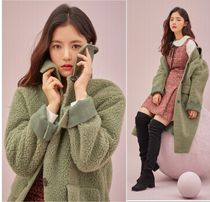 Roem Casual Style Faux Fur Plain Long Party Style Office Style
