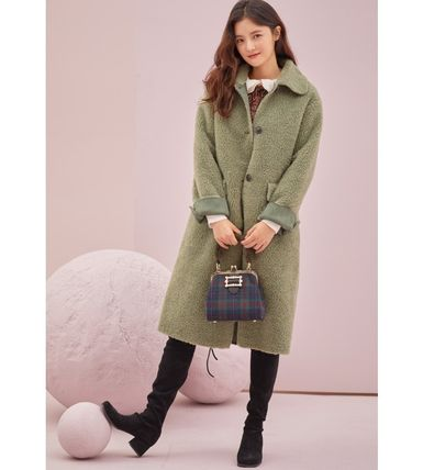Casual Style Faux Fur Plain Long Party Style Office Style
