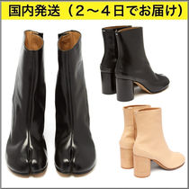 Maison Margiela Tabi Casual Style Plain Leather Block Heels Ankle & Booties Boots