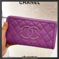 CHANEL ICON Unisex Calfskin Plain Leather Long Wallets