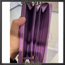CHANEL ICON Unisex Calfskin Plain Leather Long Wallet  Logo Long Wallets