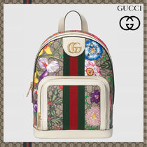 GUCCI Ophidia Flower Patterns Casual Style Leather Office Style Logo