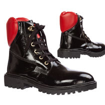 Love Moschino Round Toe Rubber Sole Casual Style Street Style Leather