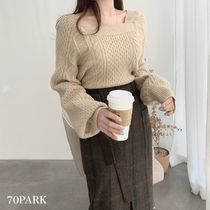 Cable Knit Casual Style Long Sleeves Medium Puff Sleeves
