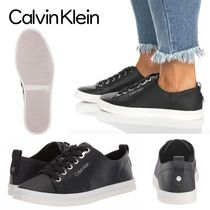 Calvin Klein Round Toe Lace-up Casual Style Plain Low-Top Sneakers