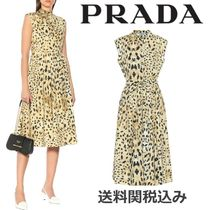 PRADA Leopard Patterns Blended Fabrics Sleeveless Flared Cotton