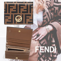 FENDI F IS FENDI Monogram Unisex Calfskin Leather Folding Wallets