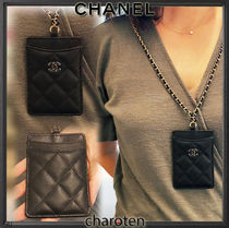 CHANEL ICON Unisex Calfskin Chain Plain Leather Card Holders