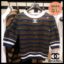 CHANEL Crew Neck Stripes Casual Style Cashmere Cropped