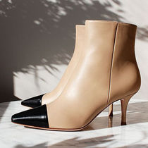 Gianvito Rossi Square Toe Bi-color Plain Leather Pin Heels Party Style