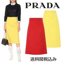 PRADA Wool Blended Fabrics Plain Medium Elegant Style Midi Skirts