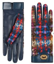 GUCCI Unisex Wool Tweed Leather Leather & Faux Leather Gloves