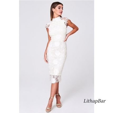 Tight Medium Short Sleeves Party Style High-Neck Midi Lace