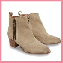 Lipsy Casual Style Suede Plain Chunky Heels Ankle & Booties Boots