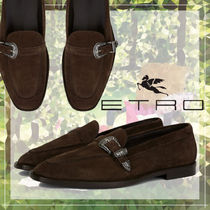 ETRO Moccasin Loafers Suede Blended Fabrics Plain Leather