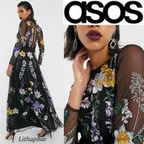 ASOS Flower Patterns Casual Style A-line Flared V-Neck