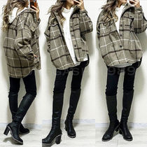 Tartan Casual Style Medium Oversized Jackets