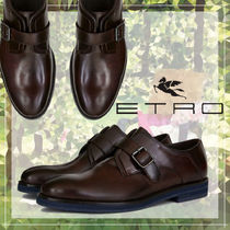 ETRO Plain Toe Monk Loafers Plain Leather Loafers & Slip-ons
