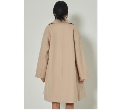 Casual Style Wool Plain Long Office Style Oversized