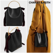 Charles&Keith Casual Style Faux Fur Blended Fabrics 2WAY Plain Party Style