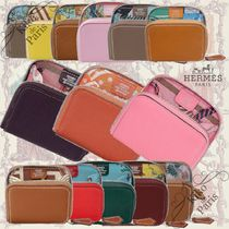 HERMES Silk In Calfskin Blended Fabrics Plain Long Wallet  Coin Cases