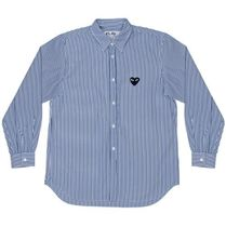 COMME des GARCONS Stripes Heart Unisex Street Style Long Sleeves Cotton Shirts