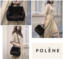 POLENE Casual Style Street Style 2WAY Plain Leather Party Style
