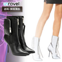 UNRAVEL Casual Style Street Style Plain Mid Heel Boots
