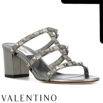 VALENTINO Casual Style Leather Block Heels Heeled Sandals