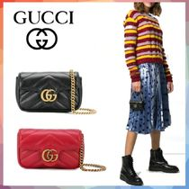 GUCCI GG Marmont 2WAY Chain Leather Party Style Elegant Style Party Bags